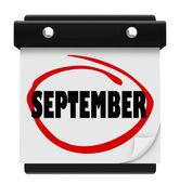 Kalendarz ścienny słowo września zmienić harmonogram miesiąca — Zdjęcie stockowe