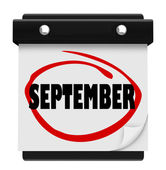 September Word Wall Calendar Change Month Schedule — ストック写真