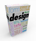Graphic Design Words Product Box Package Visual Communication — Stock Photo