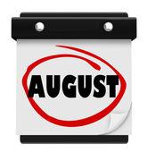 Nástěnný kalendář srpen slovo změnit měsíc plán — Stock fotografie