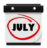 Calendario de pared julio palabra cambiar calendario mes — Foto de Stock