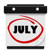 Nástěnný kalendář na červenec slovo změnit měsíc plán — Stock fotografie