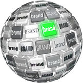 Many Brands One Unqiue Best Brand Sphere Top Choice — Stock Photo