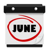 Kalendarz ścienny czerwca słowo zmienić harmonogram miesiąca — Zdjęcie stockowe