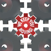 We Keep You Moving Gears Turning Help Succeed — Stock Photo