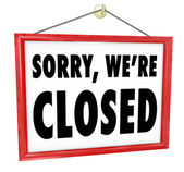 Sorry We're Closed Hanging Sign Store Closure — Stock Photo