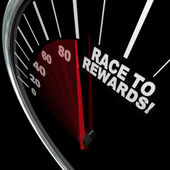 Race to Rewards Speedometer Customer Loyalty Points Program — Stock Photo