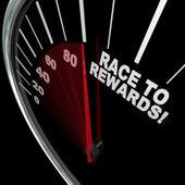 Race to Rewards Speedometer Customer Loyalty Points Program — Stock Photo