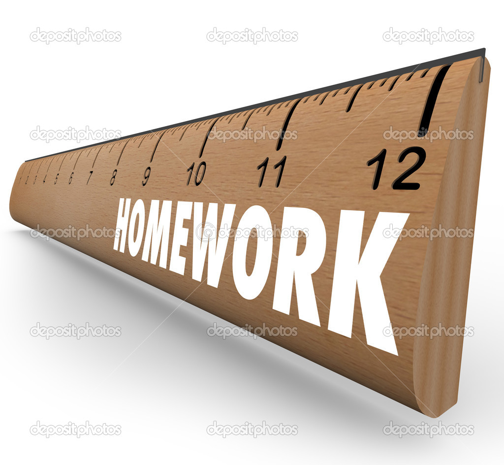 The word Homework on a wooden ruler symbolizing a lesson or assignment for school or educational training — Stock Photo #18626897