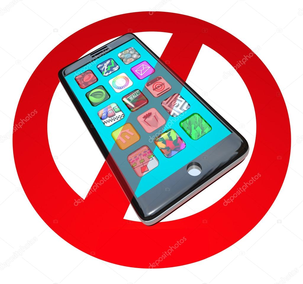 A red No or Stop sign over a smart phone showing apps to warn you not to use your telephone in a certain spot or during a special event — Stock Photo #18627489
