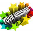 Your Message in Fun Exciting Starburst Fireworks — Stok fotoğraf