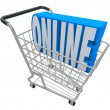 Online Shopping Cart Basket Word Internet Web Store — Zdjęcie stockowe