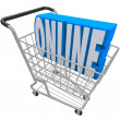 Online Shopping Cart Basket Word Internet Web Store - Stok fotoğraf