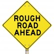 Yellow Warning Sign - Rough Road Ahead - Isolated - Stock Photo