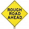 Yellow Warning Sign - Rough Road Ahead - Isolated — Stock Photo