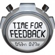 Foto Stock: Time for Feedback Words Stopwatch Timer Seeking Comments