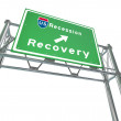 Freeway Sign - Recession Next Exit Recovery — Stock Photo