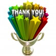 Thank You Trophy Recognition Appreciation of Job Efforts — Stock Photo