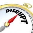 Disrupt Compass Points to Paradigm Shift New Business Model — Stock Photo