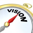 Vision Word on Gold Compass Plan Direction Strategy - Stock fotografie