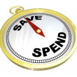 Stock Photo: Compass - Leading Way to Saving vs Spending
