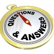 Stock Photo: Compass - Questions and Answers Help Assistance