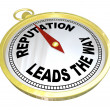 Reputation Leads the Way Compass Trustworthy Credible Leader — Foto Stock