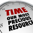 Time Our Most Precious Resource Clock Shows Value of Life — ストック写真
