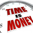 Time is Money Saying Quote Words on Clock - Foto Stock