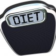 Diet Word on Scale Lose Weight Eat Less — Stock Photo