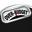 Over-Budget Words on Scale Financial Trouble Debt Deficit - Stock Photo