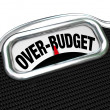 Over-Budget Words on Scale Financial Trouble Debt Deficit — Stock Photo #20332453