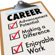 Career Checklist Priorities Goals Objectives in Work Profession — Stockfoto