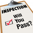 Inspection Checklist Clipboard Will You Pass Words - Stock Photo