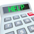 Help - Word on Calculator for Assistance in Financial Trouble - Stock Photo