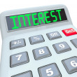 Interest Word Calculator Figure Growth Rate Loan Cost — Foto de Stock