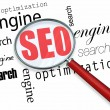 Search Engine Optimization - Magnifying Glass — Foto Stock #20332643