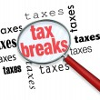 How to Find Tax Breaks - Magnifying Glass — Foto de Stock
