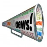 News Bullhorn Megaphone Important Alert Announcement — Stock Photo