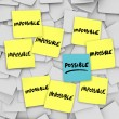Possible Vs Impossibility Sticky Notes Background — Stock Photo