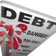 Debt Thermometer Deficit Rising Overspending Danger — Stock Photo