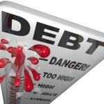 Debt Thermometer Deficit Rising Overspending Danger — Stock Photo