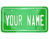 Your Name License Plate Personalized Vanity Badge — Stock Photo
