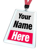 Your Name Here Badge Lanyard Advertising — Stock Photo