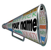 Your Name Bullhorn Megaphone Advertising Brand — Stock Photo
