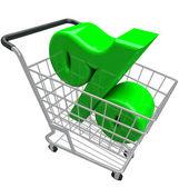 Prozentzeichen shopping cart prozent inflation zinssatz — Stockfoto