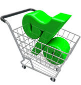 Percentage Sign Shopping Cart Percent Inflation Interest Rate — Stock Photo