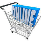 Online Shopping Cart Basket Word Internet Web Store — Foto de Stock