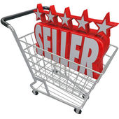 Five Star Seller Shopping Cart Trusted Best Online Retailer — Stock Photo