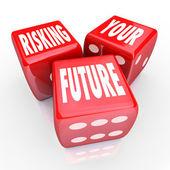 Geleceğin - kelimeler üç kırmızı zar üzerindeki riske — Stok fotoğraf